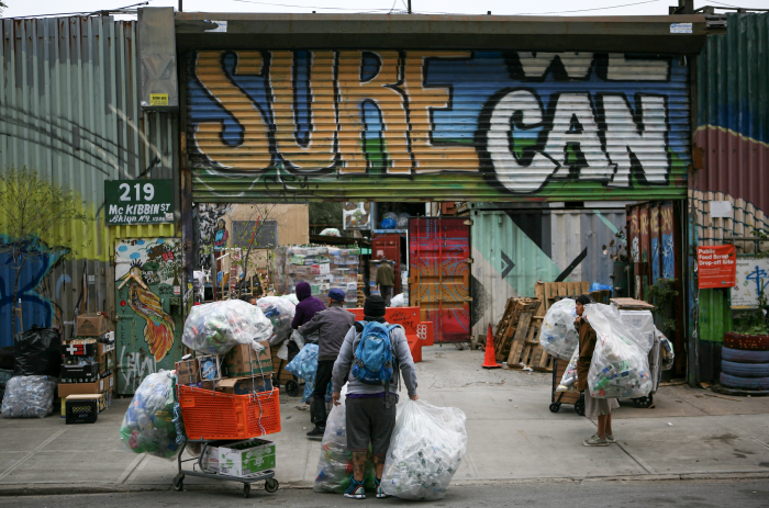 """""""Canners bringing bottles and cans to a non-profit redemption center in Bushwick, Brooklyn (2019)."""" Photograph taken by Carlos Rivera for the research of NYAS Anthropology Board Member Christine Hegel"""